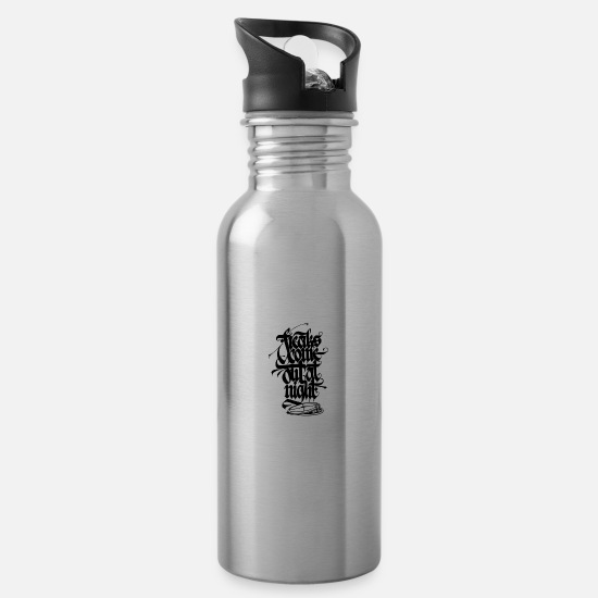 Rap Mugs & Drinkware - Freaks come out at night nightlife - Water Bottle silver