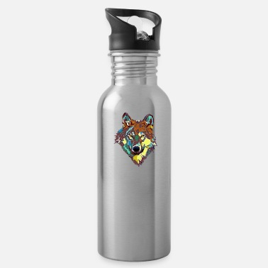 Collections Wolf Kopf bunt - Trinkflasche