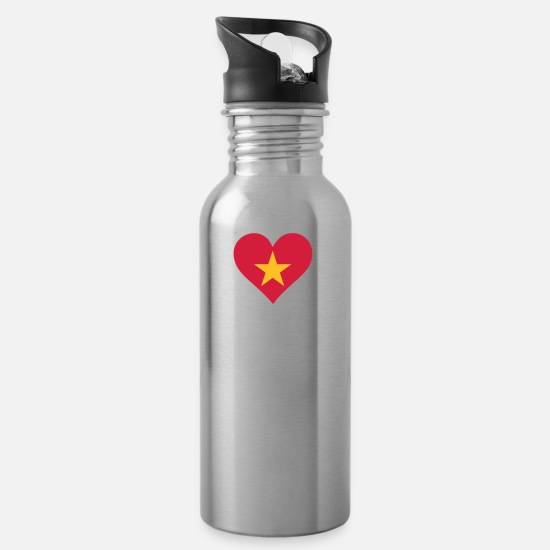 Country Mugs & Drinkware - A Heart For Vietnam - Water Bottle silver