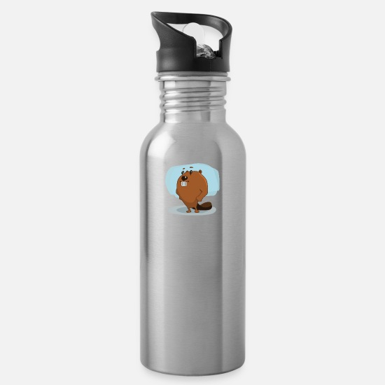 Usa Mugs & Drinkware - beaver biber rodent rodents wood water5 - Water Bottle silver