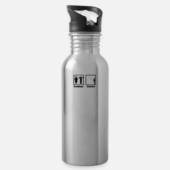 Haha Mugs & Drinkware - problem solving angling - Water Bottle silver