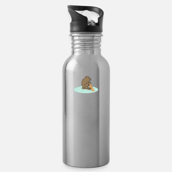 Usa Mugs & Drinkware - beaver biber rodent rodents wood water37 - Water Bottle silver