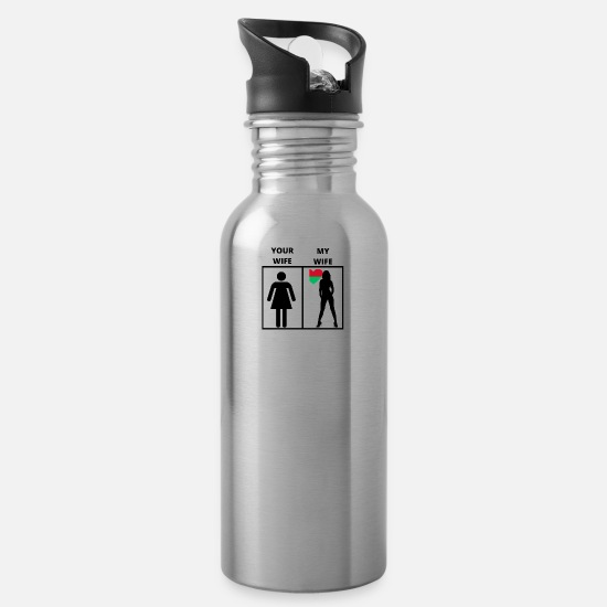 Birthday Mugs & Drinkware - Madagascar gift my your wife - Water Bottle silver