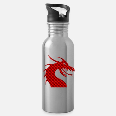 Red Red dragon patterned silhouette - Water Bottle