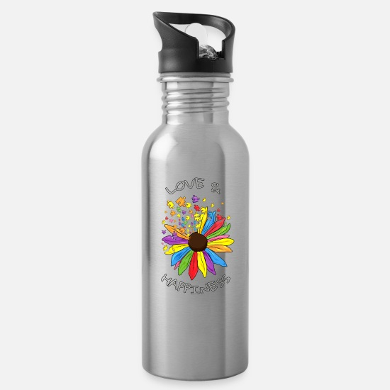 Birthday Mugs & Drinkware - Autism Sunflower Love Happiness Autist Gift - Water Bottle silver