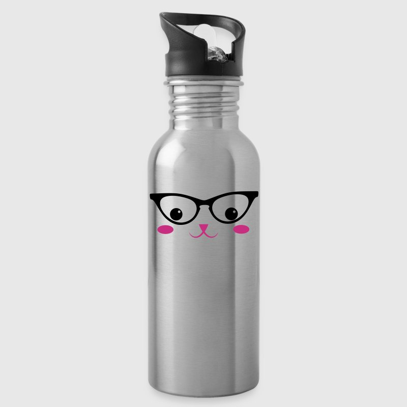 cat face cute with CAT glasses KAWAII - Water Bottle