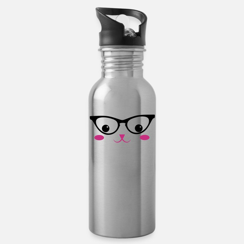 Cute Mugs & Drinkware - cat face cute with CAT glasses KAWAII - Water Bottle silver