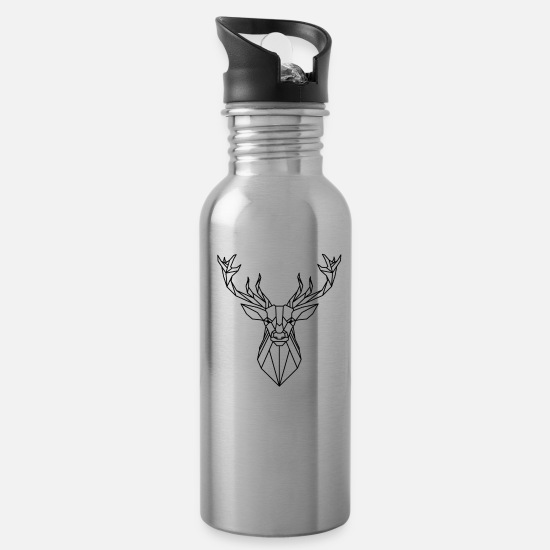 Stag Mugs & Drinkware - Animal Collection: The Deer - Water Bottle silver