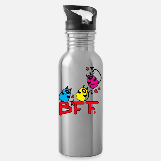 Typography Mugs & Drinkware - BFF MONSTERS - Water Bottle silver