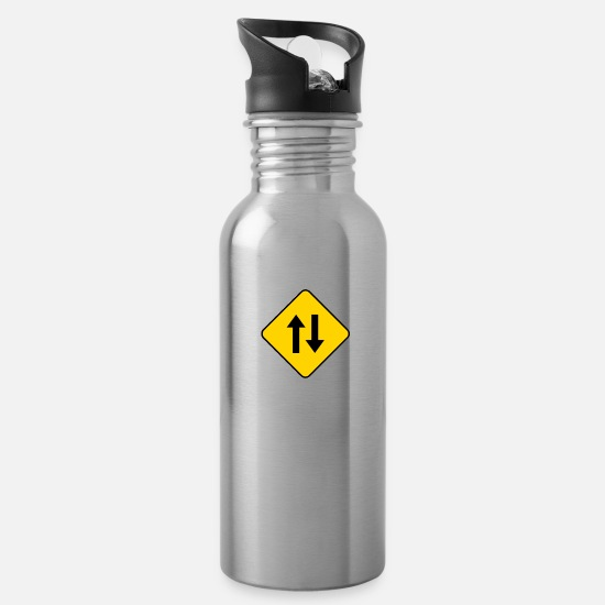 Gift Idea Mugs & Drinkware - Bisexual road sign traffic sexuality - Water Bottle silver