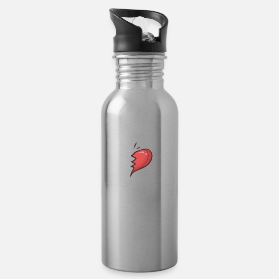 Couple Mugs & Drinkware - ULTE Cute Soulmates for Valentine's Day - Water Bottle silver