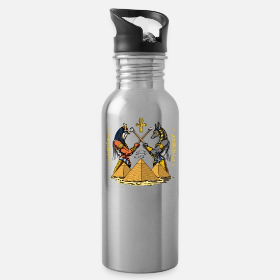 Egypt History Mugs & Drinkware - Egyptian Gods Anubis Horus Ancient Pyramids Ankh - Water Bottle silver