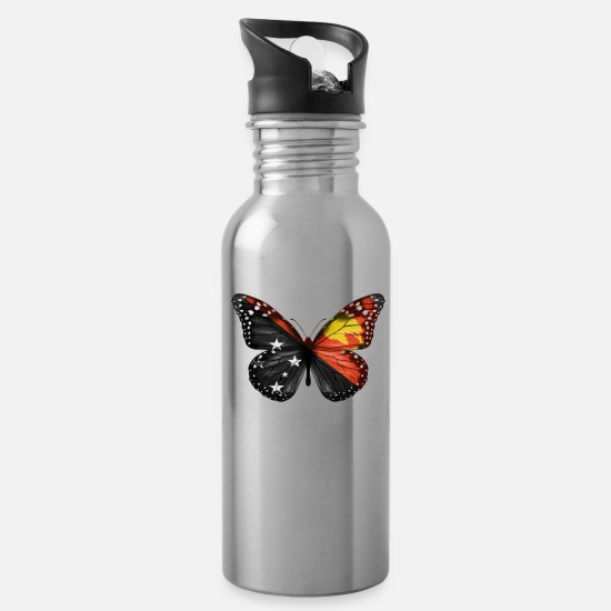 Father's Day Mugs & Drinkware - Butterfly Flag Of Papua New Guinea - Water Bottle silver