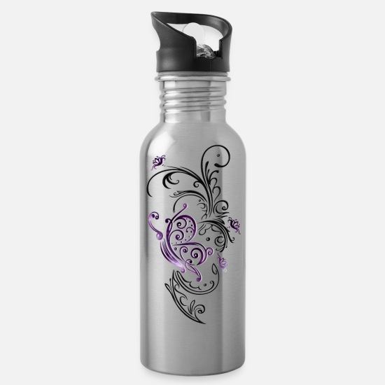 Floral Mugs & Drinkware - Floral tendril Floral summer floral butterfly - Water Bottle silver