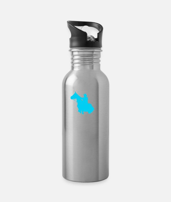 Funny Sayings Mugs & Drinkware - Funny saying cowboy wester horse motif kids - Water Bottle silver