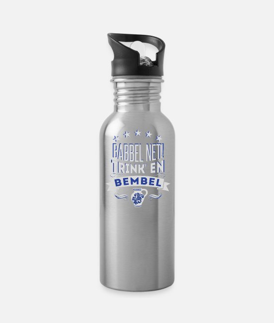 Sachsenhausen Mugs & Drinkware - Babbel Net Drink En Bembel Shirt - Water Bottle silver