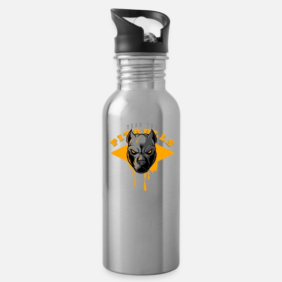 Dog Friend Mugs & Drinkware - fear the pitbulls 0 - Water Bottle silver