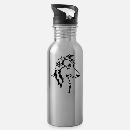 Greyhound Mugs & Drinkware - Long hair whippet head - Water Bottle silver