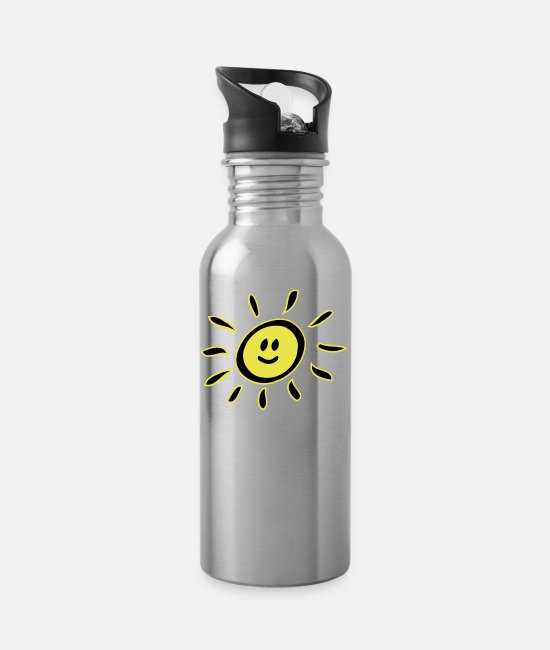 Not In The Mood Mugs & Drinkware - Smiley sun - Water Bottle silver