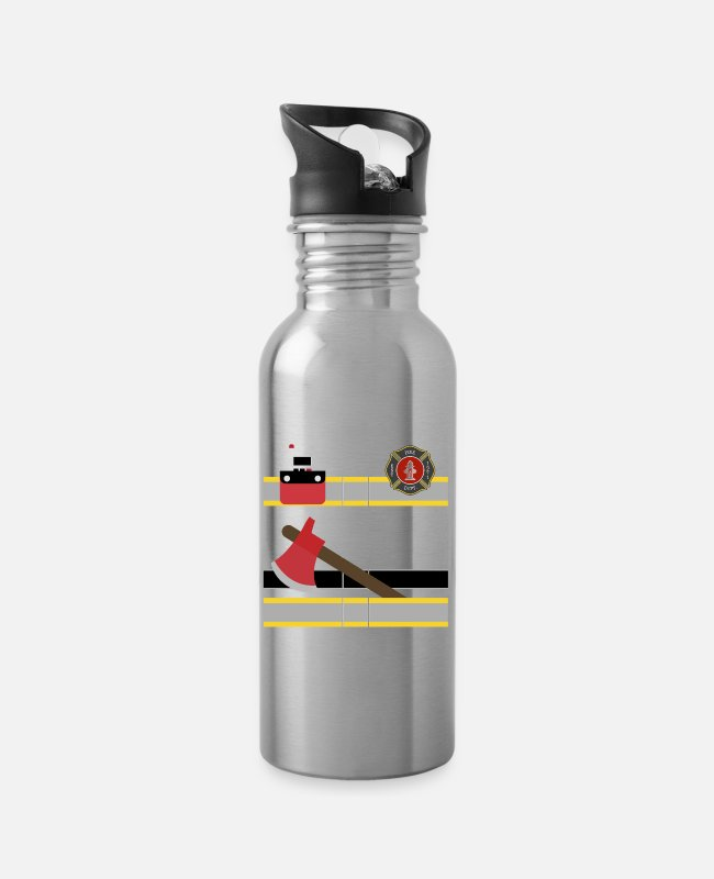 Trendy Firefighter Bunker Mugs & Drinkware - Firefighter Uniform print, Bunker Gear graphic, - Water Bottle silver
