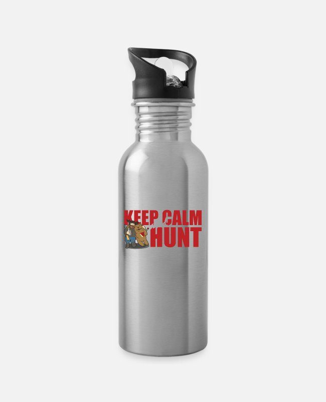 Hunter Language Mugs & Drinkware - Keep Calm And Hunt - Bear Hunt - Water Bottle silver