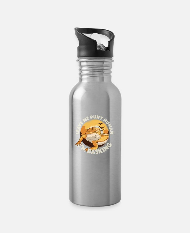 Embarrassing Mugs & Drinkware - Bearded Dragon Reptile Lover Lizard Breeding Gift - Water Bottle silver