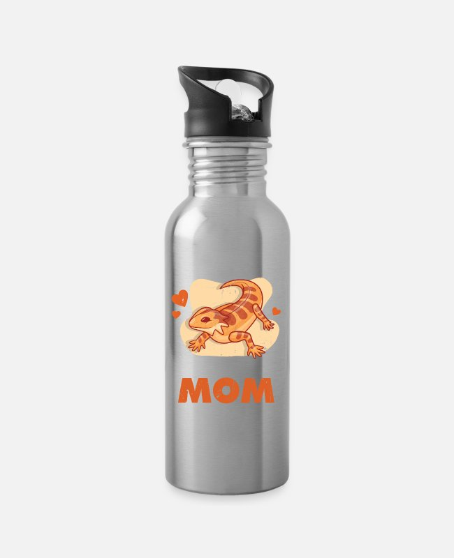 Embarrassing Mugs & Drinkware - Bearded Dragon Reptile Lover Dragon Breeding Gift - Water Bottle silver