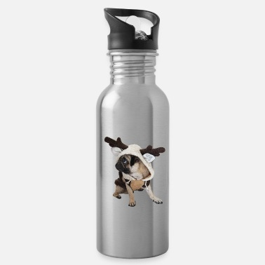 Dress Up Pug dressed up as a reindeer - Water Bottle