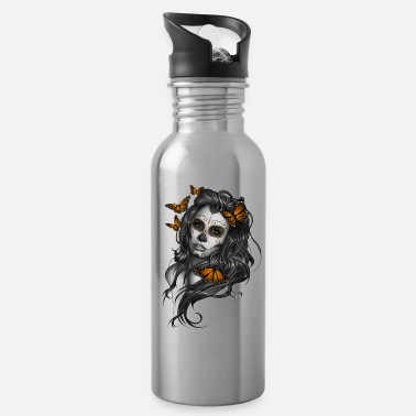 Skull Day of the Dead Sugar Skull Girl - Water Bottle