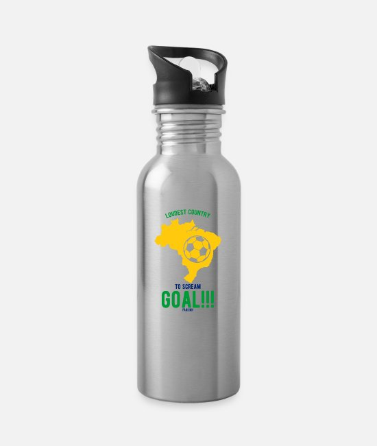 South America Mugs & Drinkware - Brazil South America Portugal tropical - Water Bottle silver