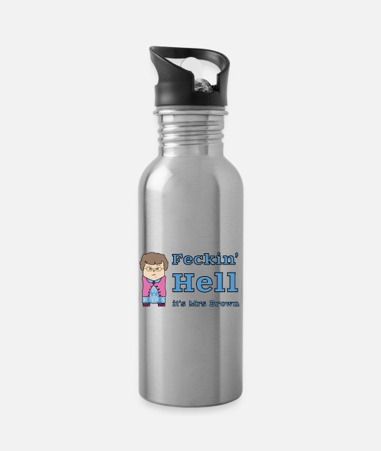 Provocation Mugs & Drinkware - Feckin' Hell it's Mrs Brown - Water Bottle silver