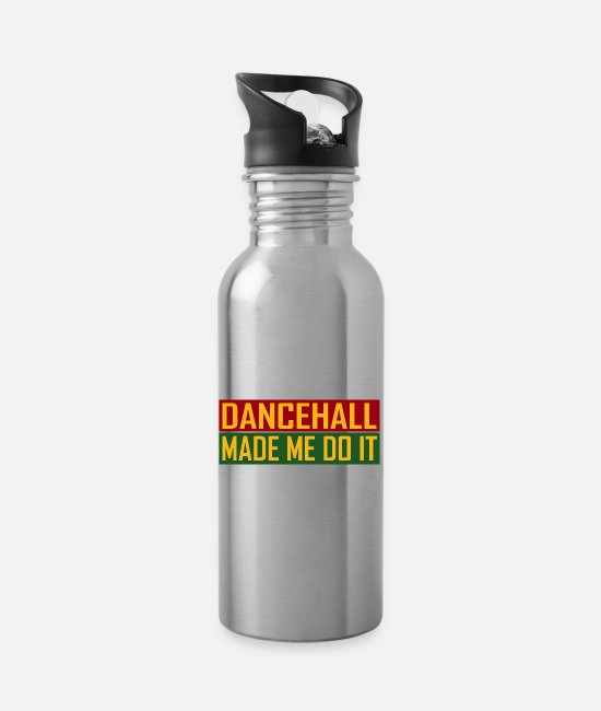 Rastafari Mugs & Drinkware - Dancehall Made Me Do It - Water Bottle silver