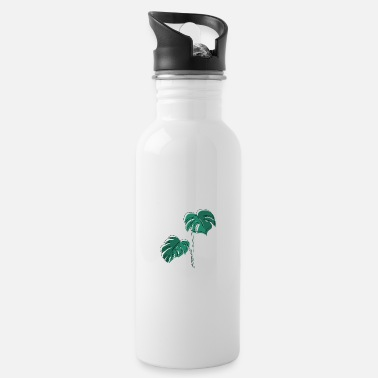 Minimum Monstera, Lineart, plant, Pflanze, Leaf, Minimal - Water Bottle