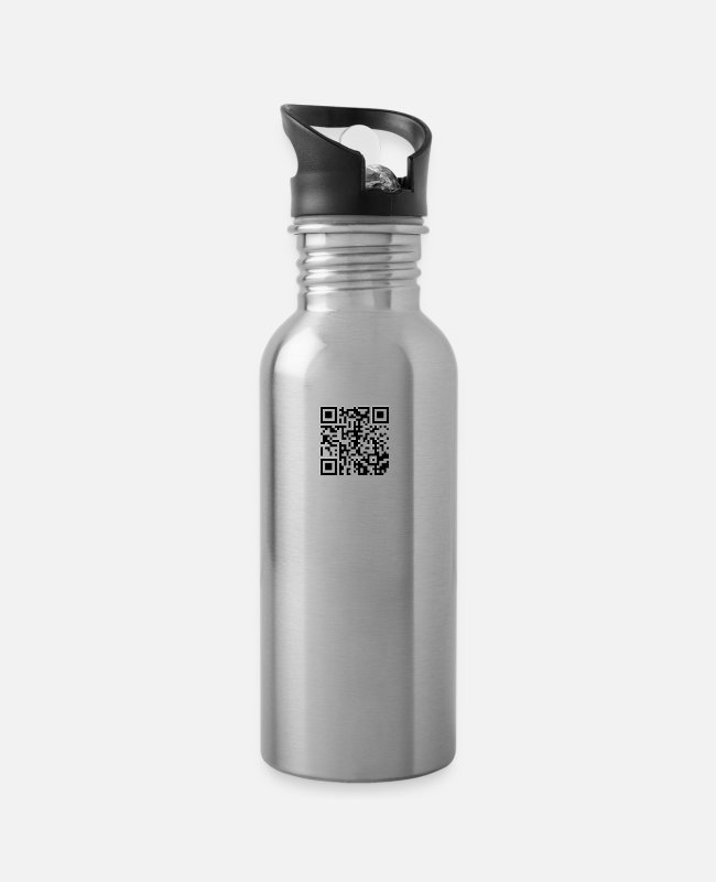 Rick Rolled Mugs & Drinkware - Rick Rolling QR Code - Water Bottle silver