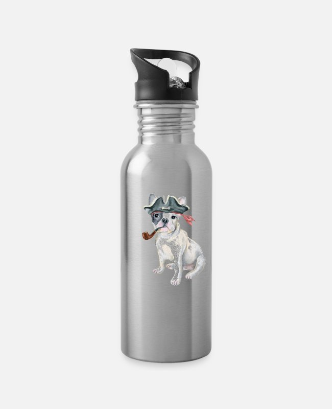Quote Mugs & Drinkware - Frenchie French Bulldog Pirate Hat pipe Dogs In - Water Bottle silver