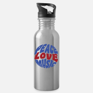 Hippie Music Peace Love Music Hippie Festival Music - Water Bottle