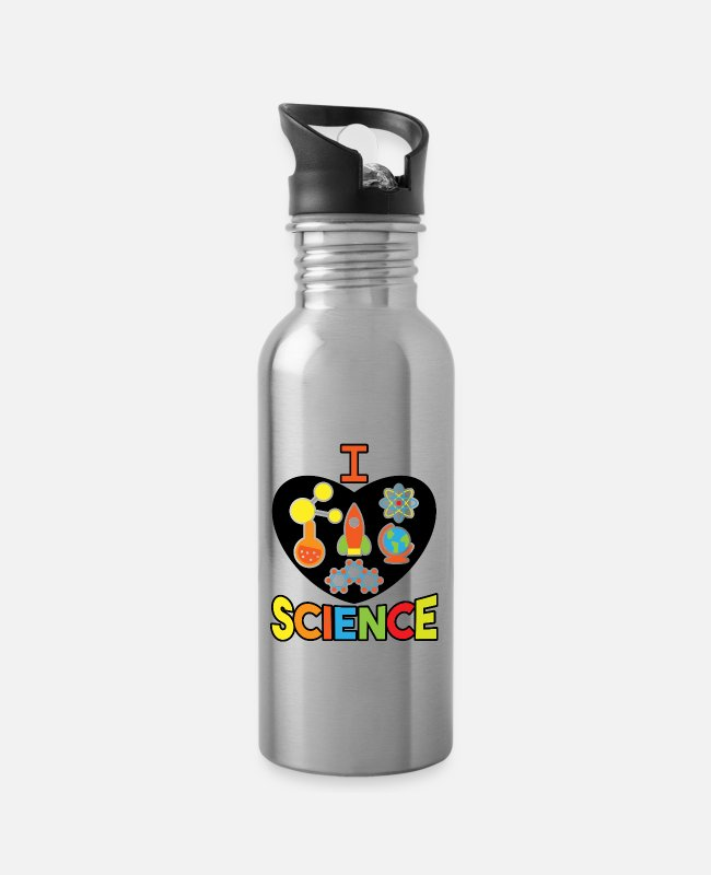 Maths Mugs & Drinkware - Science, computer science, math, biology, chemistry - Water Bottle silver