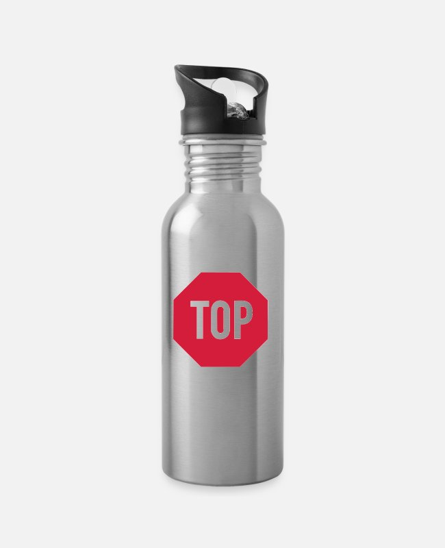 Red Mugs & Drinkware - TOP sign - Water Bottle silver