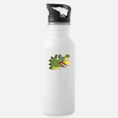 Dental Care Crocodile and yellow bird in dental care - Water Bottle