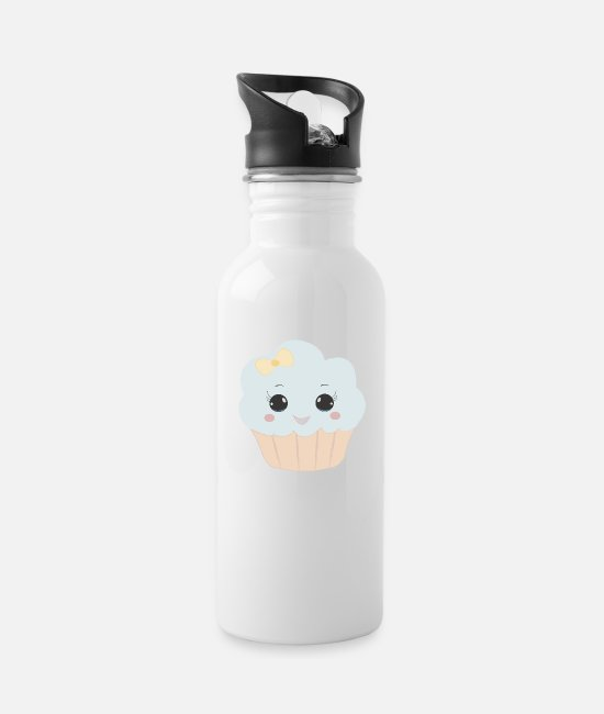 Beady Eyes Mugs & Drinkware - Cute muffin with ribbon button eyes gift - Water Bottle white