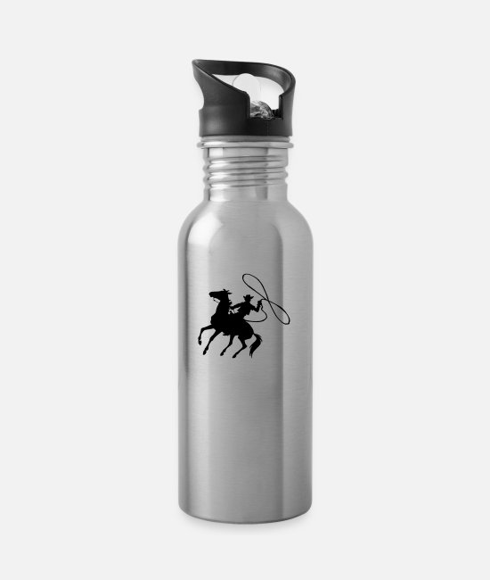 Western Mugs & Drinkware - Cowboy - Water Bottle silver