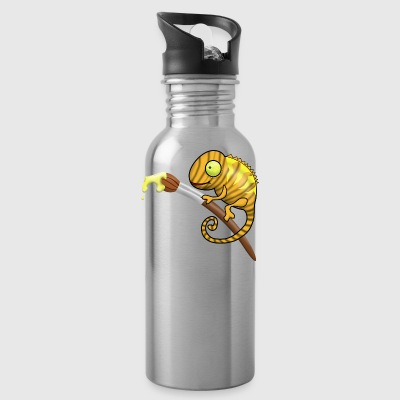 Chamaeleon with brush and paint. gift idea - Water Bottle