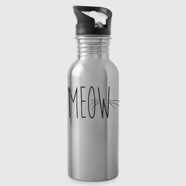 whisker black meow font - Water Bottle