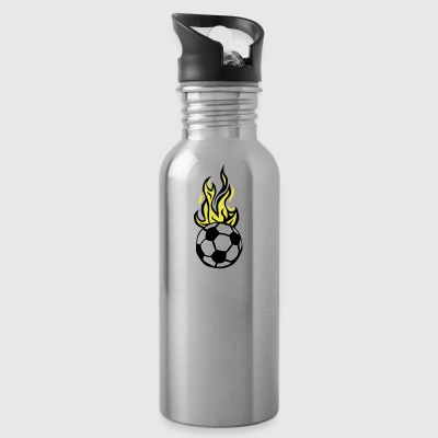soccer ball soccer flame fire flame - Water Bottle