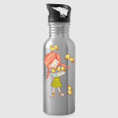 Girl with ducks - Water Bottle