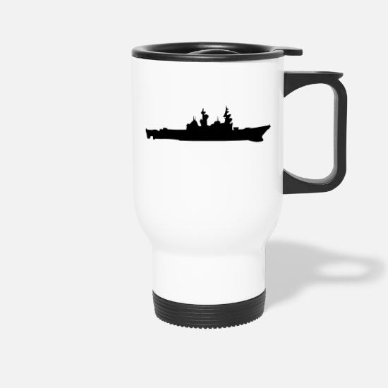 Illustration Tassen & Becher - Vector Navy Kriegsschiff Silhouette - Thermobecher Weiß