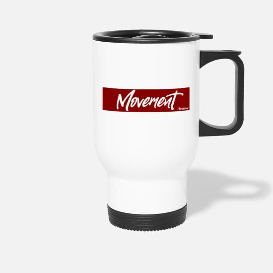 "Afrobeat Mugs & Drinkware - Movement - ""Toothless"" Red [Afroflows] - Travel Mug white"