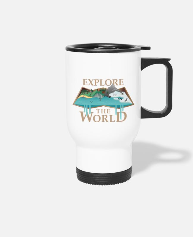 Water Mugs & Drinkware - Map & Animals (Explore) - Travel Mug white