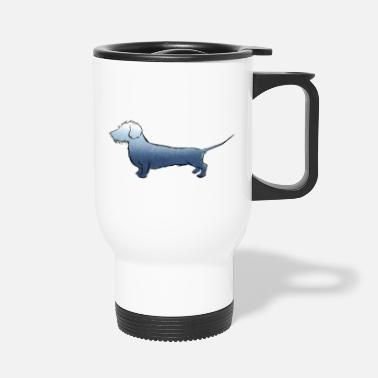 Wire-haired Dachshund The wire-haired dachshund watercolor blue. Real wire hair - Travel Mug