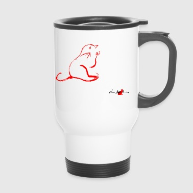 CAT CLEANING RED, CAT CLEANING, - Travel Mug